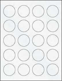 "Sheet of 1.62"" Circle Clear Matte Inkjet labels"