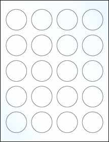 """Sheet of 1.625"""" Circle Clear Gloss Laser labels"""