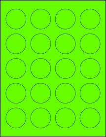 "Sheet of 1.625"" Circle Fluorescent Green labels"
