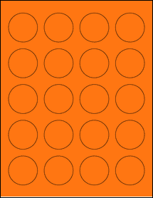 "Sheet of 1.625"" Circle Fluorescent Orange labels"
