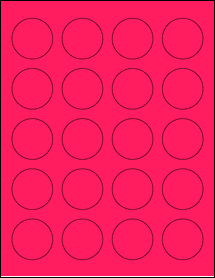 """Sheet of 1.625"""" Circle Fluorescent Pink labels"""