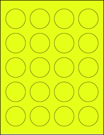 """Sheet of 1.625"""" Circle Fluorescent Yellow labels"""