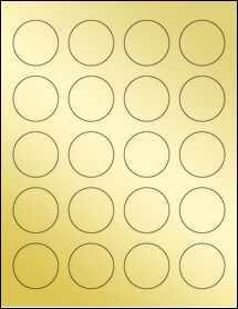 """Sheet of 1.625"""" Circle Gold Foil Laser labels"""