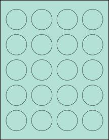 "Sheet of 1.625"" Circle Pastel Green labels"