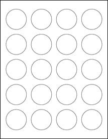 "Sheet of 1.625"" Circle Weatherproof Polyester Laser labels"