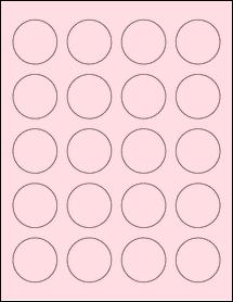 """Sheet of 1.625"""" Circle Pastel Pink labels"""