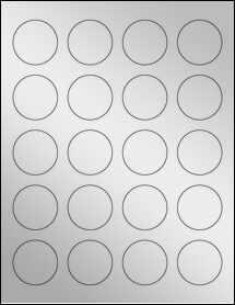 "Sheet of 1.625"" Circle Silver Foil Laser labels"