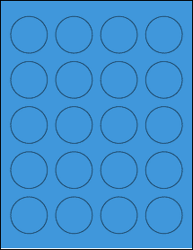 "Sheet of 1.625"" Circle True Blue labels"