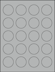 "Sheet of 1.625"" Circle True Gray labels"