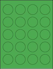 "Sheet of 1.625"" Circle True Green labels"
