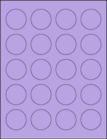 "Sheet of 1.625"" Circle True Purple labels"