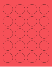 """Sheet of 1.625"""" Circle True Red labels"""