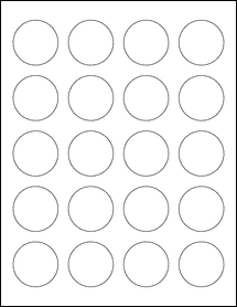 "Sheet of 1.625"" Circle Weatherproof Matte Inkjet labels"