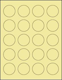 """Sheet of 1.625"""" Circle Pastel Yellow labels"""