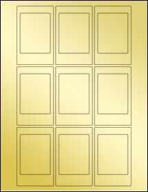 """Sheet of 2.125"""" x 3.375"""" Gold Foil Laser labels"""