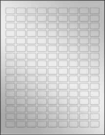 """Sheet of 0.75"""" x 0.5"""" Silver Foil Laser labels"""