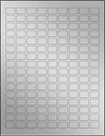 "Sheet of 0.75"" x 0.5"" Weatherproof Silver Polyester Laser labels"