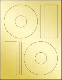 """Sheet of 4.65"""" CD Gold Foil Inkjet labels"""