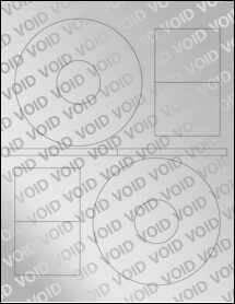 "Sheet of 4.64"" CD Void Silver Polyester labels"