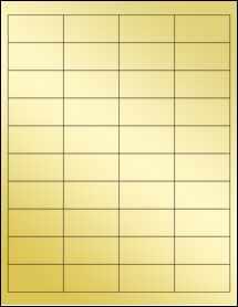 """Sheet of 2"""" x 1"""" Gold Foil Laser labels"""