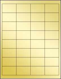 """Sheet of 2"""" x 1.25"""" Gold Foil Laser labels"""