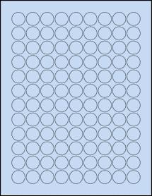 """Sheet of 0.75"""" Circle Pastel Blue labels"""