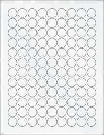 "Sheet of 0.75"" Circle Clear Matte Inkjet labels"