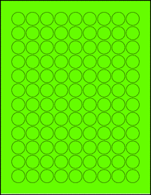 "Sheet of 0.75"" Circle Fluorescent Green labels"