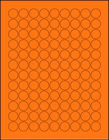 "Sheet of 0.75"" Circle Fluorescent Orange labels"