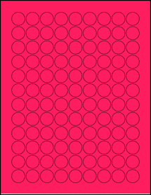 """Sheet of 0.75"""" Circle Fluorescent Pink labels"""