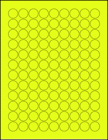 """Sheet of 0.75"""" Circle Fluorescent Yellow labels"""