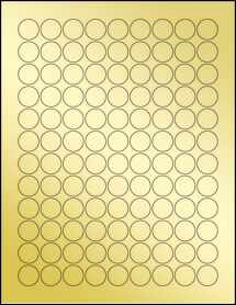 "Sheet of 0.75"" Circle Gold Foil Inkjet labels"