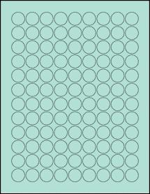 "Sheet of 0.75"" Circle Pastel Green labels"