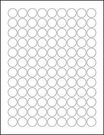 "Sheet of 0.75"" Circle Weatherproof Polyester Laser labels"