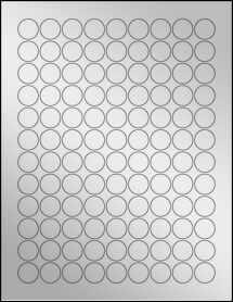 "Sheet of 0.75"" Circle Silver Foil Inkjet labels"