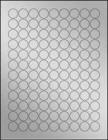 "Sheet of 0.75"" Circle Weatherproof Silver Polyester Laser labels"
