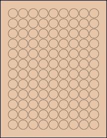 "Sheet of 0.75"" Circle Light Tan labels"