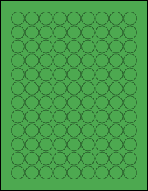 "Sheet of 0.75"" Circle True Green labels"