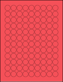 """Sheet of 0.75"""" Circle True Red labels"""