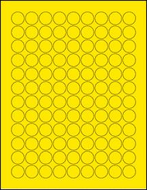 "Sheet of 0.75"" Circle True Yellow labels"