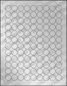 "Sheet of 0.75"" Circle Void Silver Polyester labels"