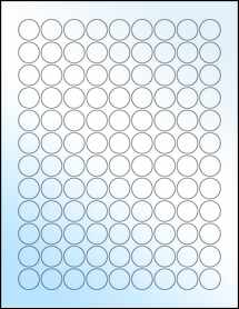 "Sheet of 0.75"" Circle White Gloss Inkjet labels"