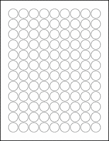 "Sheet of 0.75"" Circle Weatherproof Matte Inkjet labels"