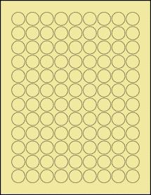 """Sheet of 0.75"""" Circle Pastel Yellow labels"""