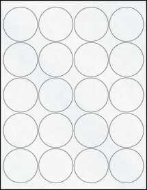 "Sheet of 2"" Circle Clear Matte Inkjet labels"