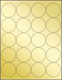 """Sheet of 2"""" Circle Gold Foil Laser labels"""