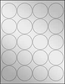 "Sheet of 2"" Circle Silver Foil Inkjet labels"