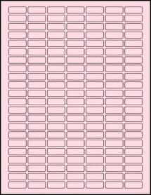 "Sheet of 1"" x 0.375"" Pastel Pink labels"