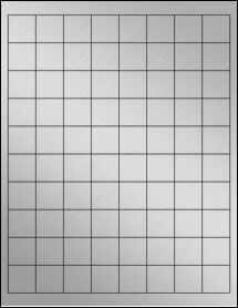 "Sheet of 1"" x 1"" Weatherproof Silver Polyester Laser labels"