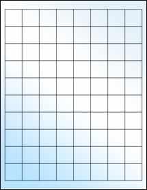 """Sheet of 1"""" x 1"""" White Gloss Inkjet labels"""
